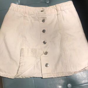 F21 white denim mini skirt